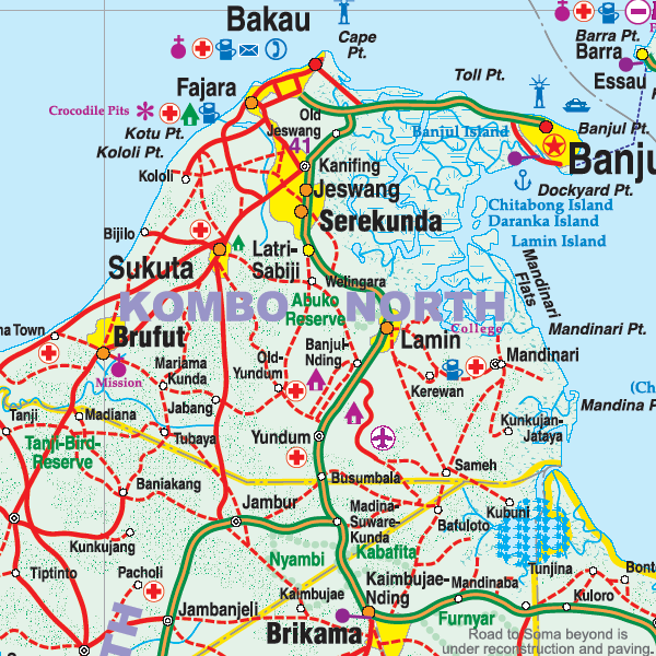 WAG] Gambia | road infrastructure - SkyserCity on map of wadi rum, map of bijilo, map of tikal national park, map of manhattan island, map of dangriga, map of djenne, map of banjul, map of lagos, map of charlotte amalie, map of chenonceau, map of gambia,