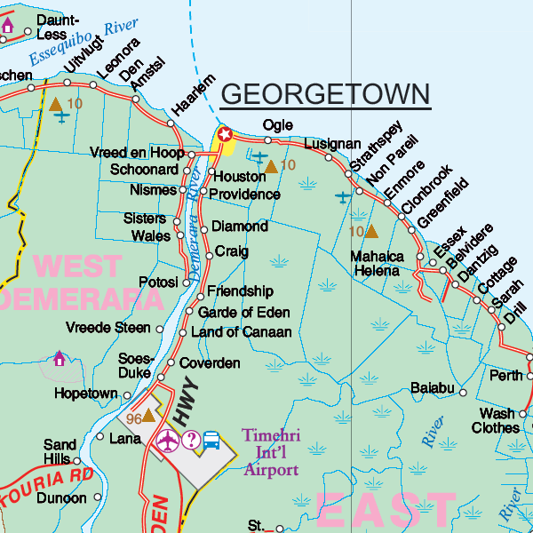 Guyana Road Map Maps for travel, City Maps, Road Maps, Guides, Globes, Topographic