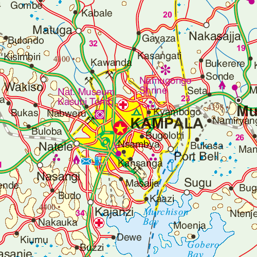 Maps for travel, City Maps, Road Maps, Guides, Globes, Topographic ... Kampala Map