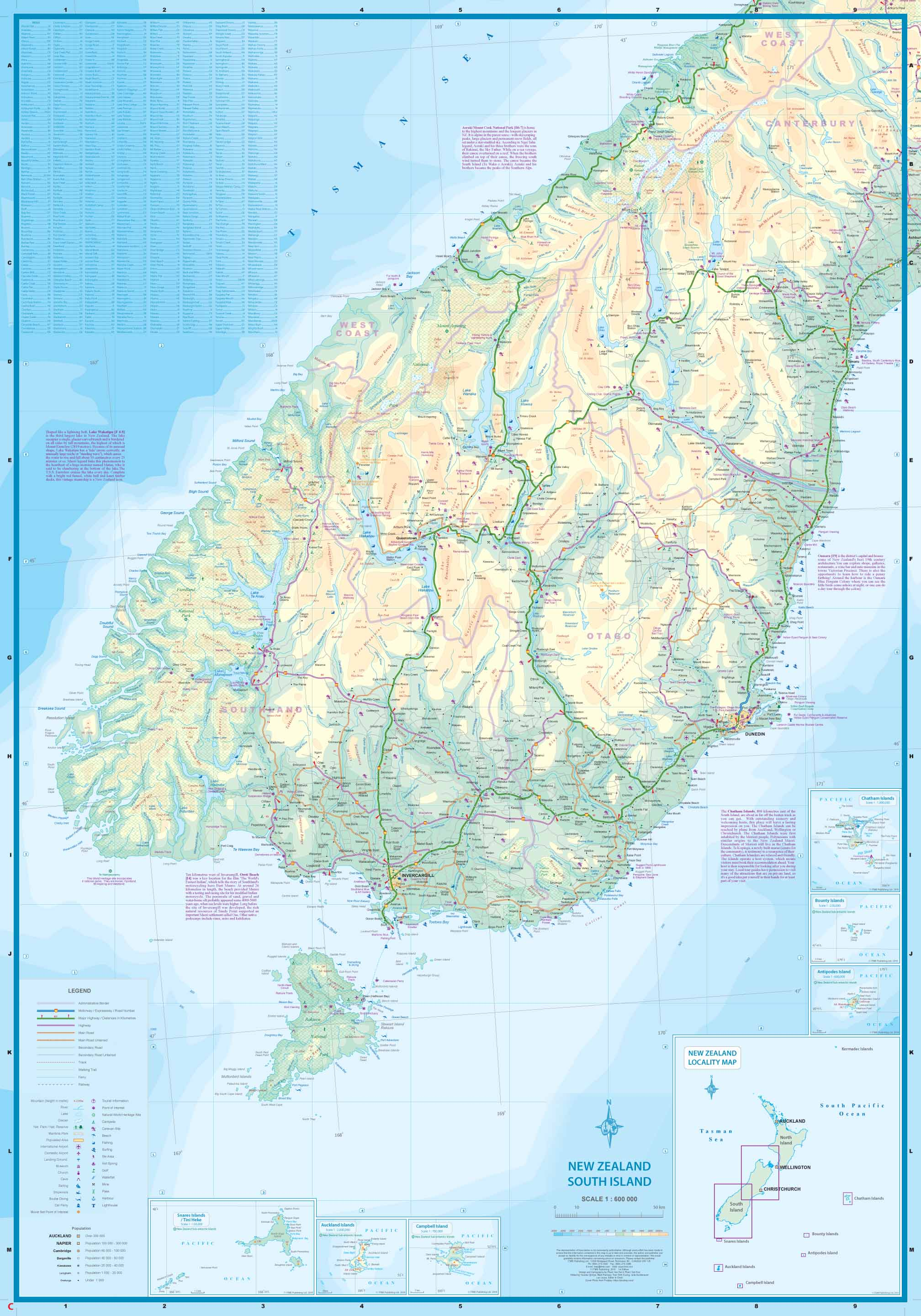 New Zealand Road Map South Island.Maps For Travel City Maps Road Maps Guides Globes Topographic Maps