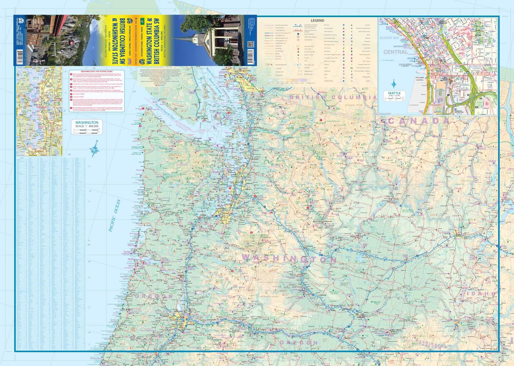Bc Washington Map.British Columbia Sw Washington State Road Map At 1 800 Itmb