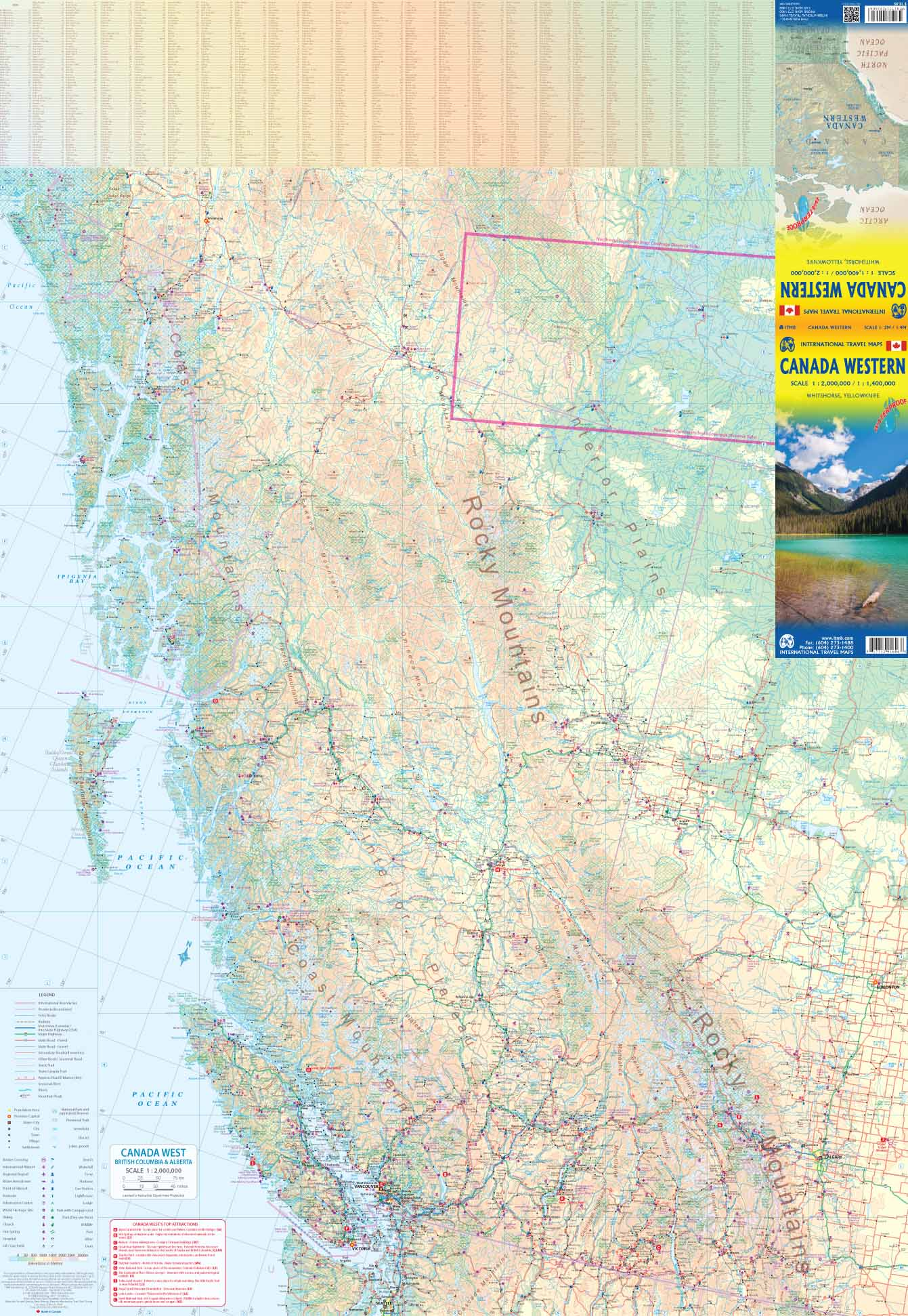 West Of Canada Map.Western Canada Road Map At 1 2 And 1 1 400 000 Itmb Publishing