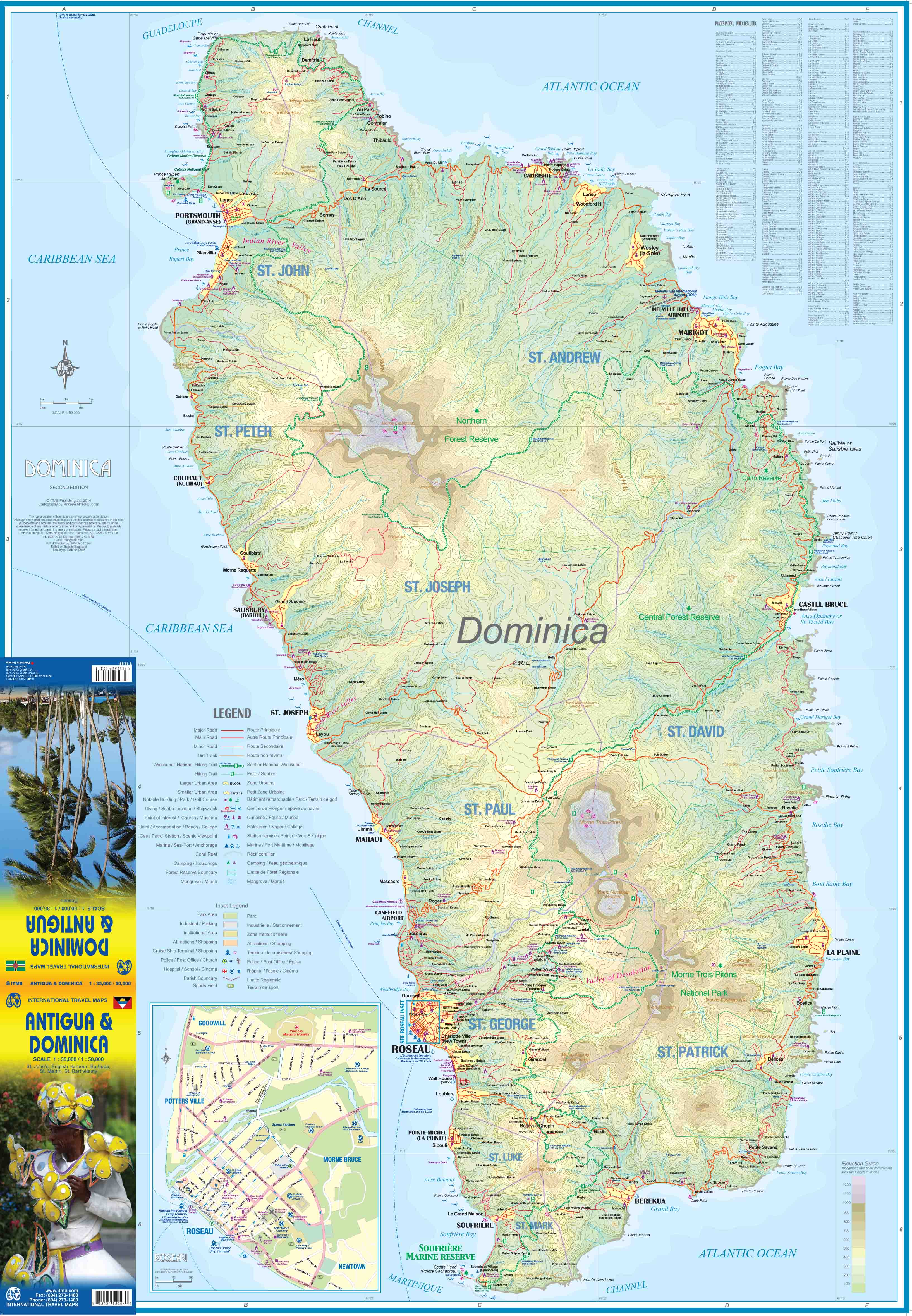 Maps For Travel City Maps Road Maps Guides Globes Topographic - Map of dominica caribbean sea