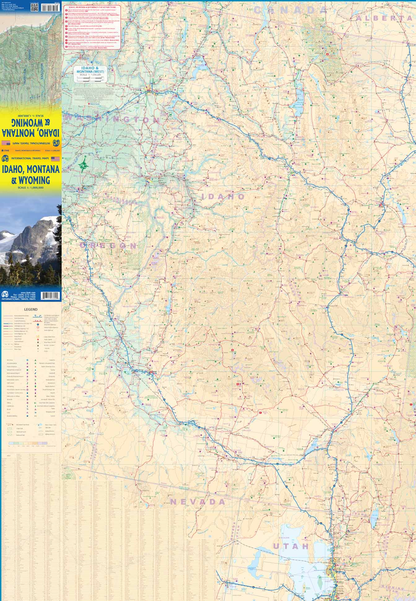 Idaho / Montana / Wyoming road map at 1:1 000 000 - ITMB Publishing ...