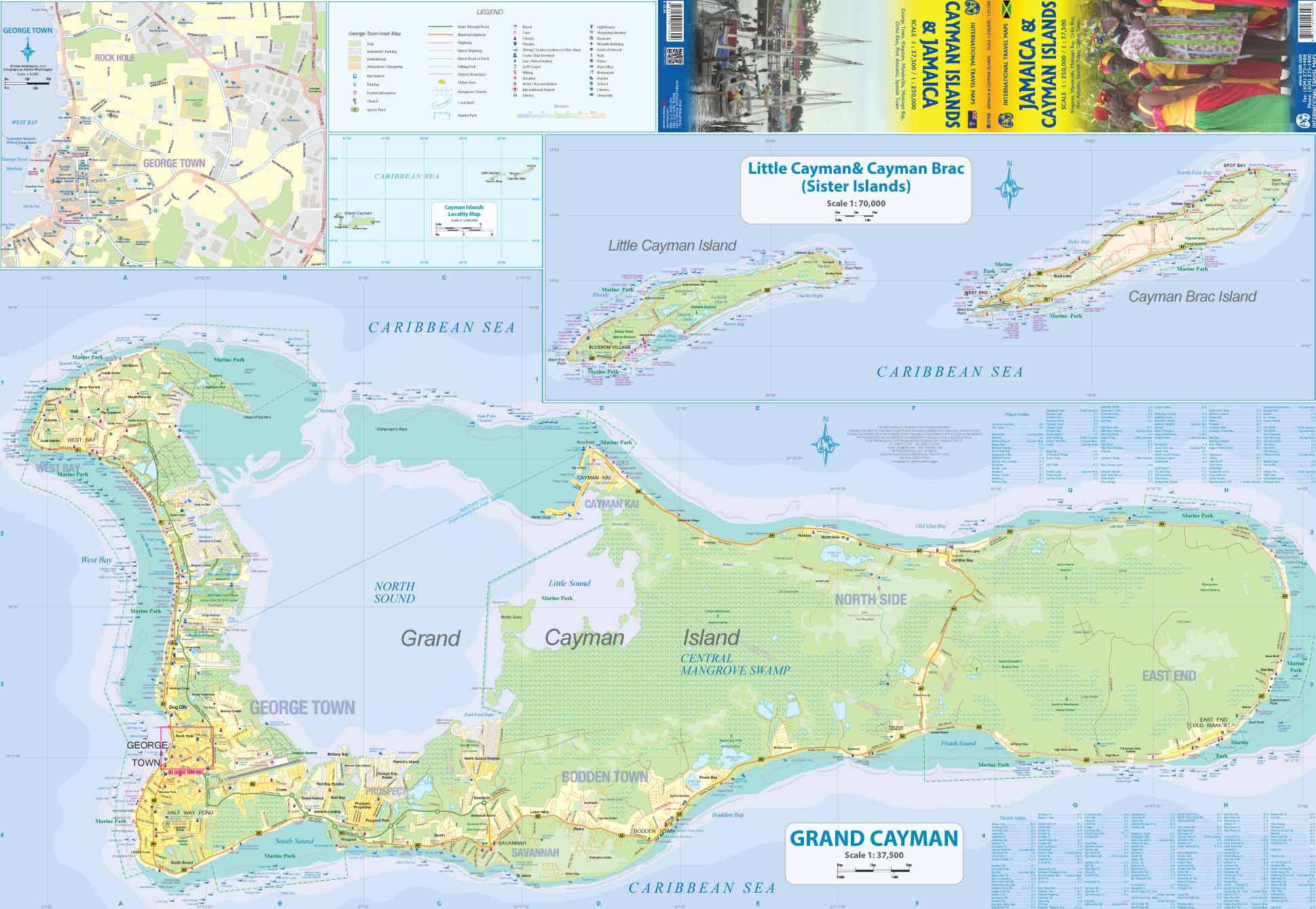 Maps For Travel City Maps Road Maps Guides Globes Topographic - Cayman islands cities map