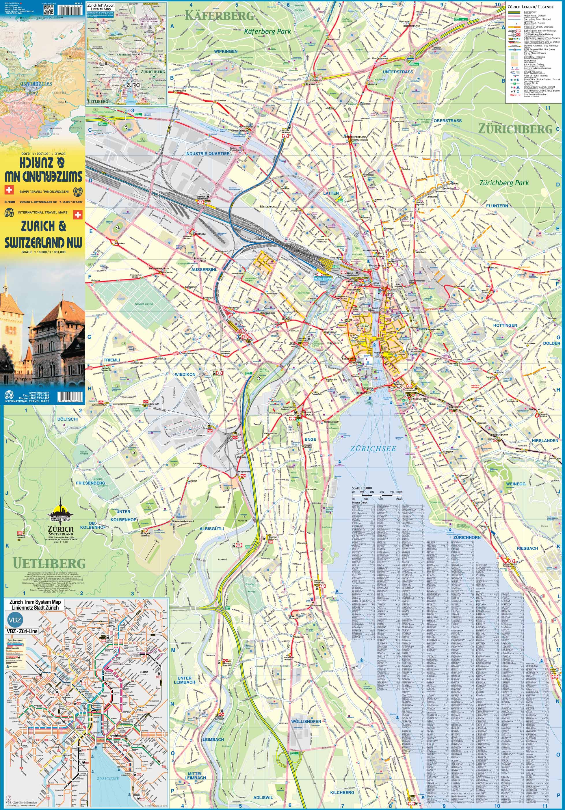 Maps for travel City Maps Road Maps Guides Globes Topographic – Zurich Tourist Map