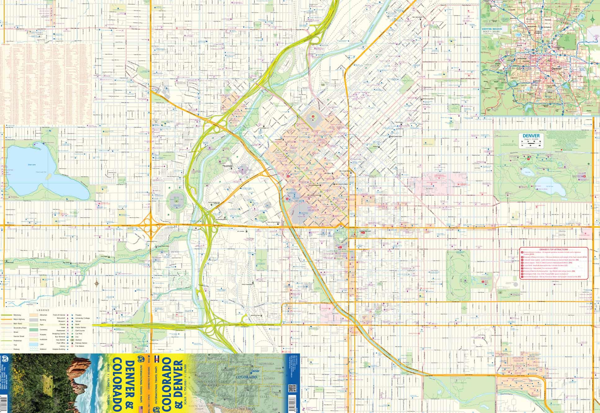 Denver, Colorado (US) road map at 1/10-1/75 000 - ITMB Publishing ...