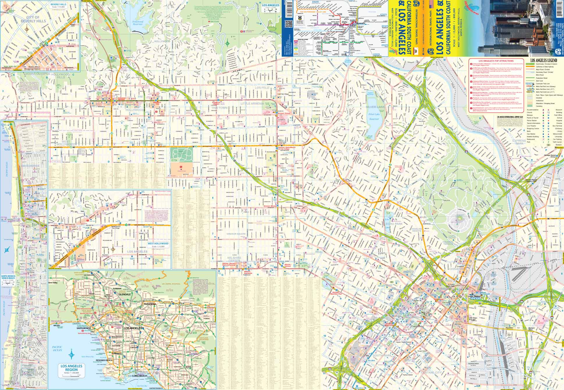 Los Angeles California South Road Map At 1 15 1 800 000 Itmb