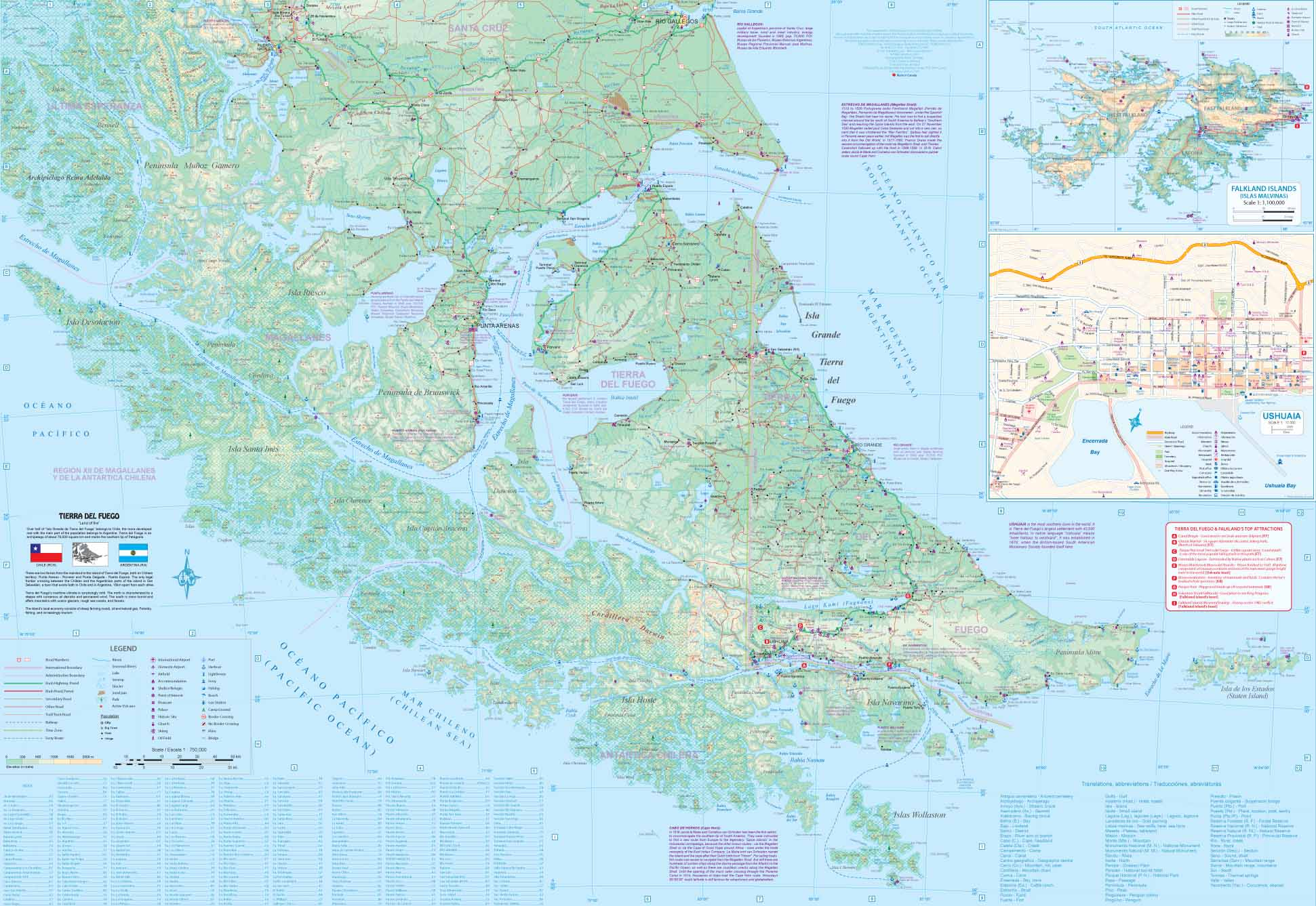 Maps For Travel City Maps Road Maps Guides Globes Topographic - Argentina map tierra del fuego