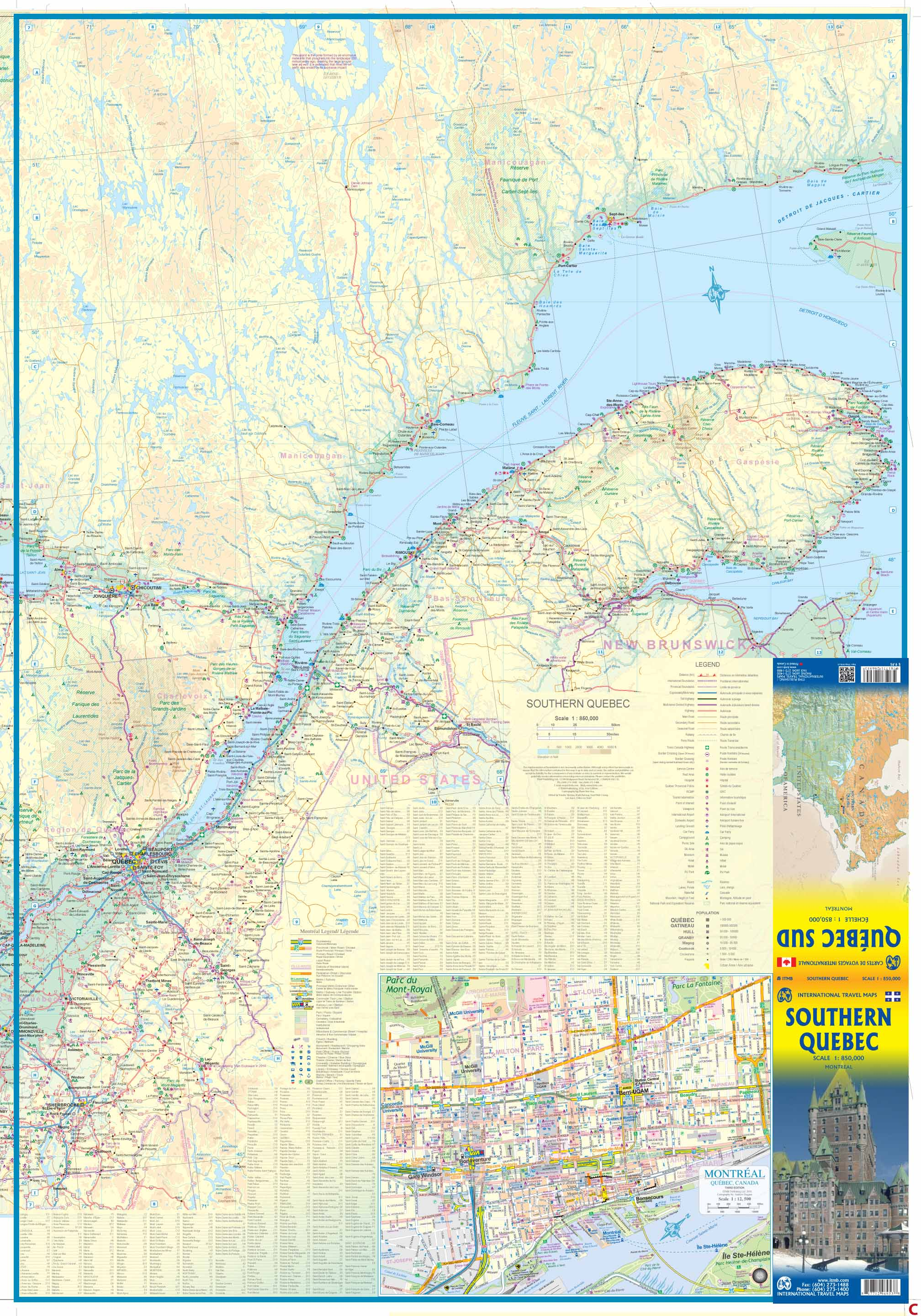 Southern Quebec road map at 1:850 000 - ITMB Publishing - Maptogo on