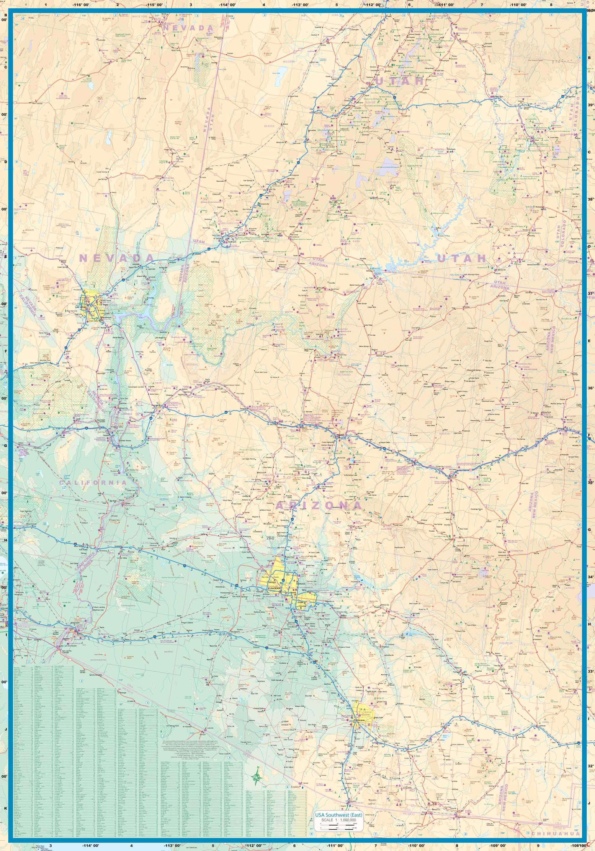 Southwestern US Physical Map Southwestern United States USA Maps - Southwest us topographic map